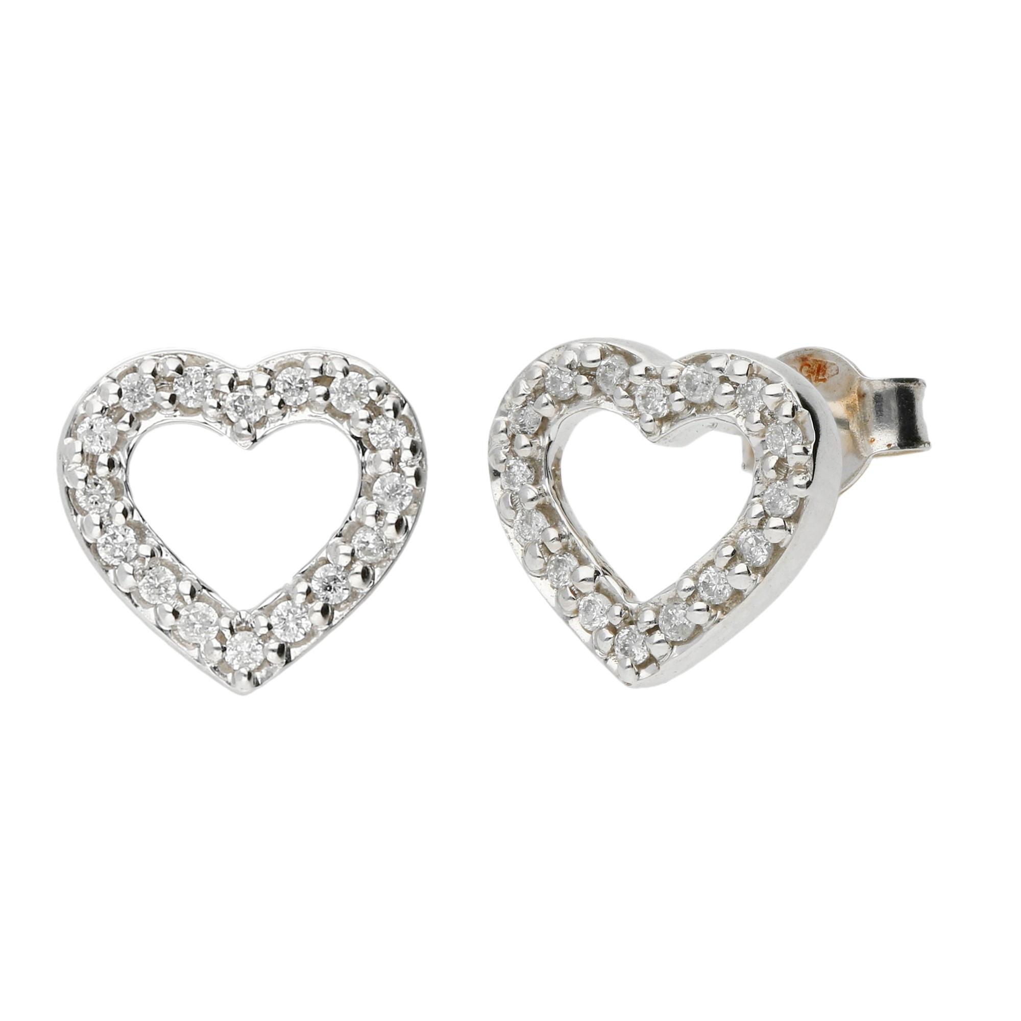 18ct White Gold Diamond Heart Stud Earrings Buy Online Free Insured Uk Delivery