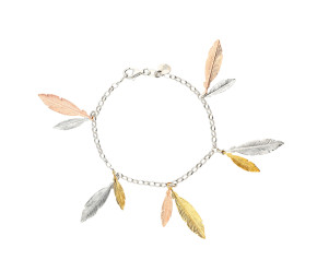 Sterling Silver Yellow & Rose Gold Plated Feather Bracelet