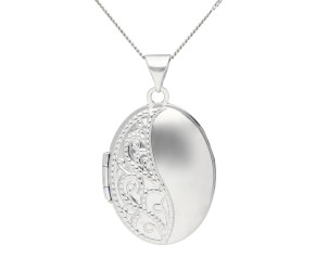 9ct White Gold Oval Locket