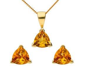 9ct Yellow Gold Trillion Cut Citrine Solitaire Pendant & Earrings Set