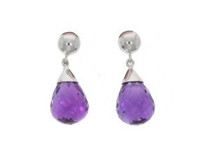 9ct White Gold Amethyst Drop Earrings