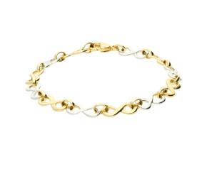 9ct Yellow & White Gold Infinity Bracelet