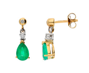 9ct Yellow & White Gold 7mm Emerald & Diamond Pear Shape Drop Earrings