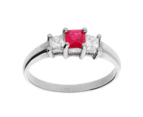 Pre-Owned 0.30ct Ruby & Diamond Trilogy Ring