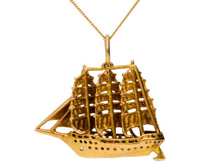 Vintage 1960's 9ct Yellow Gold Ship Pendant
