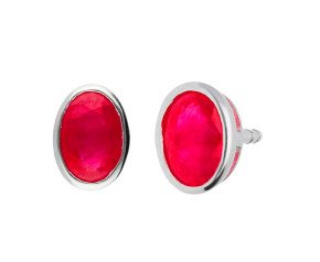 9ct White Gold 1.10ct Oval Ruby Solitaire Stud Earrings