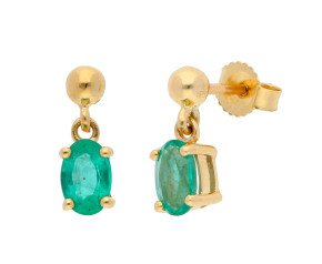 9ct Yellow Gold 0.83ct Emerald Solitaire Drop Earrings