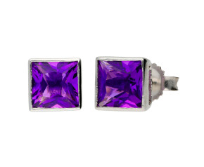 9ct White Gold 1.50ct Square Amethyst Solitaire Stud Earrings