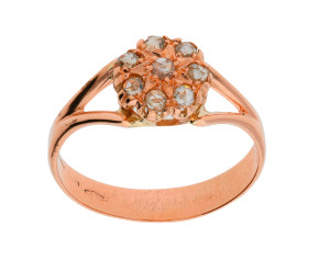 Handcrafted Italian 9ct Rose Gold Diamond Cluster Ring