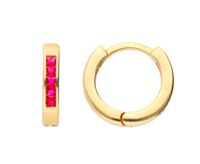 9ct Yellow Gold 0.35ct Ruby Hinged Hoop Earrings