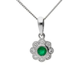 18ct White Gold 0.10ct Emerald & 0.10ct Diamond Cluster Pendant