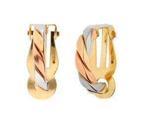 9ct Yellow, White & Rose Gold Clip-on Hoop Earrings