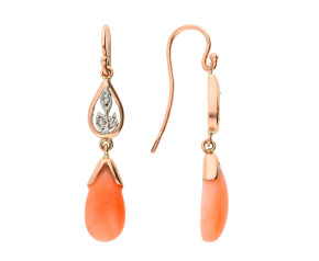 Handcrafted Italian 9ct Rose Gold Coral & Diamond Drop Earrings