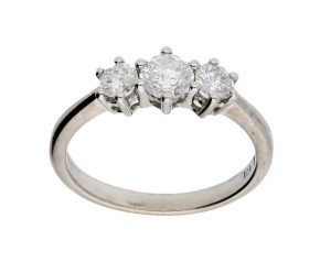 18ct White Gold Certified 0.77ct Diamond Trilogy Ring
