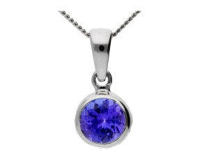 9ct White Gold 0.50ct Round Tanzanite Solitaire Pendant