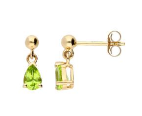9ct Yellow Gold 0.80ct Peridot Pear Drop Earrings
