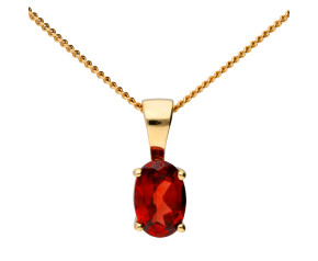 9ct Yellow Gold 0.40ct Oval Garnet Solitaire Pendant