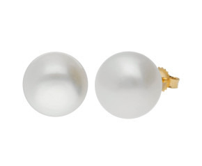 9ct Gold 11mm Freshwater Button Pearl Earrings