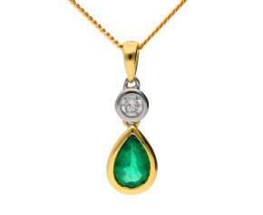 18ct Yellow Gold  0.35ct Emerald & Diamond Fancy Pendant