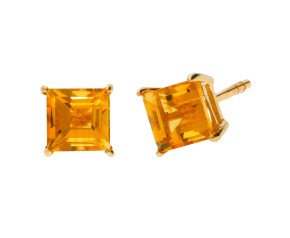 9ct Yellow Gold 0.80ct Square Citrine Solitaire Stud Earrings
