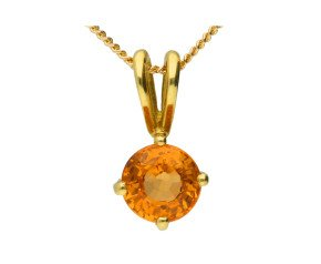 18ct Yellow Gold 0.40ct Citrine Solitaire Pendant