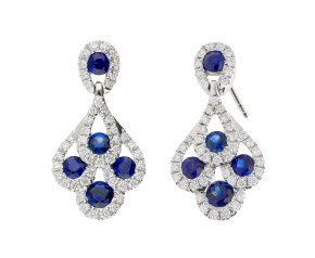 18ct White Gold 0.70ct Sapphire & 0.30ct Diamond Peacock Drop Earrings