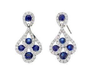 18ct White Gold 0.70ct Sapphire & 0.30ct Diamond Peacock Drop Earrings