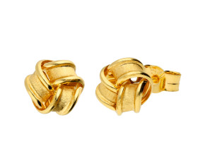 18ct Yellow Gold Frosted Ribbon Knot Stud Earrings