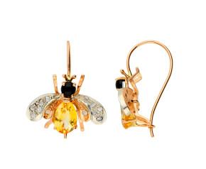 Handcrafted Italian 1ct Topaz, Onyx & 0.10ct Diamond Bee Drop Earrings