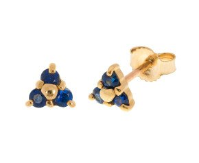 9ct Yellow Gold Sapphire Trefoil Cluster Stud Earrings