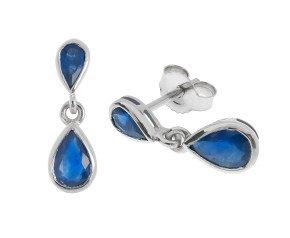 9ct White Gold Sapphire Double Pear Shape Drop Earrings