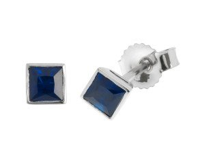 9ct White Gold 0.30ct Square Sapphire Solitaire Stud Earrings
