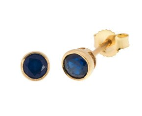 9ct Yellow Gold 4mm Sapphire Solitaire Round Shape Stud Earrings