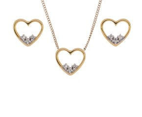 Valentines Special 9ct Yellow Gold Diamond Heart Pendant & Stud Earrings Set