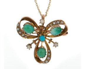 Antique Turquoise & Split Pearl Pendant