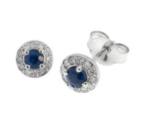 9ct White Gold 0.24ct Sapphire & 0.12ct Diamond Cluster Earrings