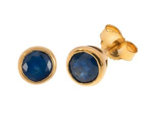 9ct Yellow Gold 1.50ct Sapphire Solitare Stud Earrings