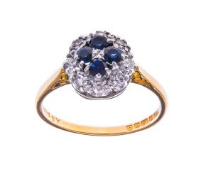 Vintage 1960's 18ct Yellow Gold Sapphire & Diamond Cluster Ring