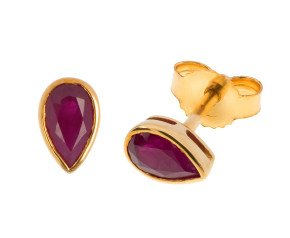 9ct Yellow Gold 0.50ct Pear Ruby Solitaire Stud Earrings