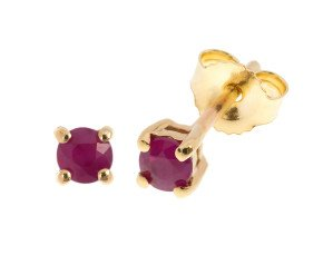 9ct Yellow Gold 0.20ct Round Ruby Solitare Stud Earrings