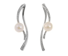 Sterling Silver Cultured Pearl Drop 2-in-1 Earrings