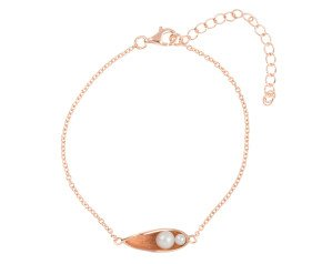Sterling Silver, Rose Gold Vermeil cultured pearl 'Pea in a pod' Bracelet
