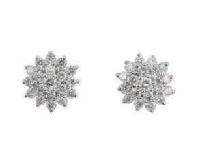 9ct Yellow Gold 0.52ct Diamond Cluster Earrings