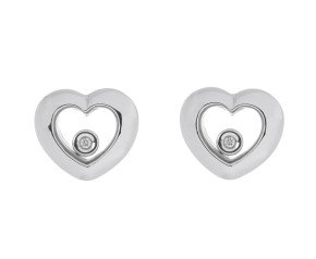 9ct White Gold Floating Diamond Heart Stud Earrings