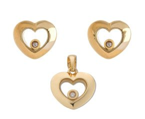 9ct Yellow Gold Floating Diamond Pendant & Stud Earring Set