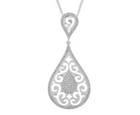 9ct White Gold 0.25ct Diamond Pendant