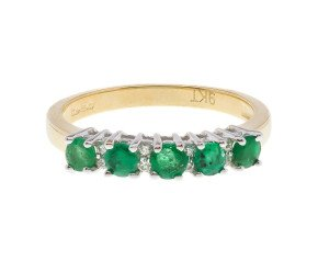 A Yellow Gold 0.55ct Emerald & Diamond Dress Ring