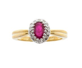 9ct yellow gold 0.50ct Ruby & Diamond Cluster Ring