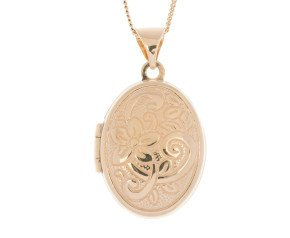 9ct Yellow Gold Floral Oval Locket