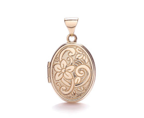 9ct Rose Gold Floral Oval Locket